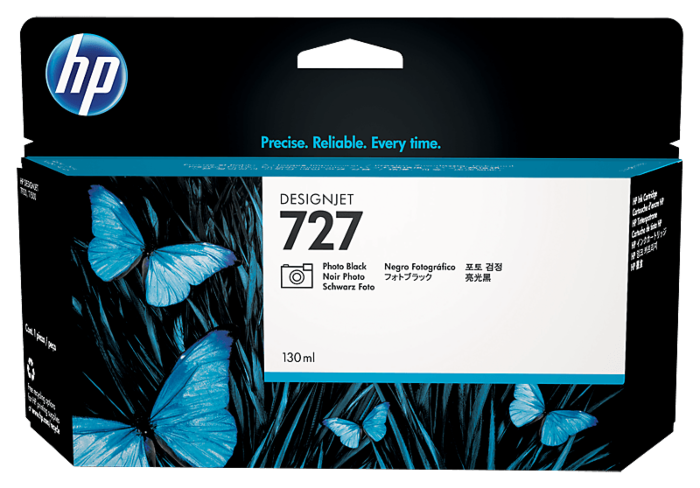 HP 727 130 毫升亮光黑 DesignJet 墨盒