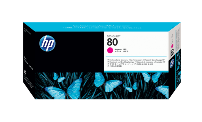 HP 80 Magenta DesignJet Printhead and Printhead Cleaner
