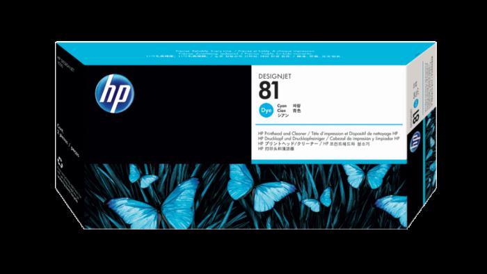 HP 81 綻藍色 DesignJet 染料型打印頭和打印頭清潔劑