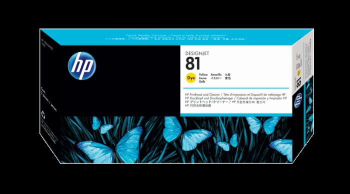 HP 81 黃色 DesignJet 染料型打印頭和打印頭清潔劑