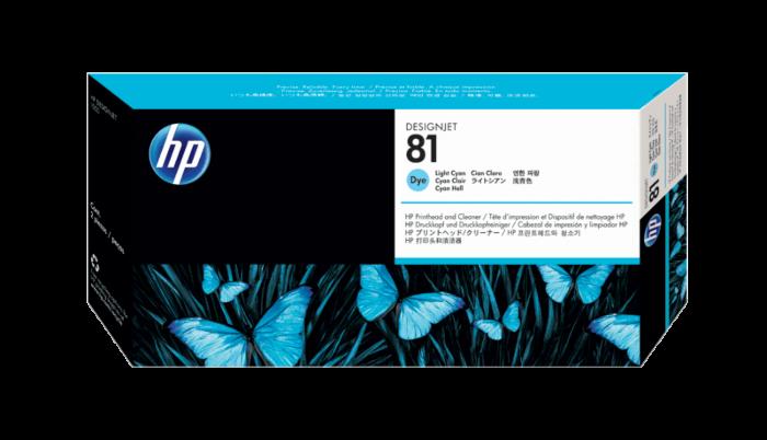 HP 81 淺綻藍色 DesignJet 染料型打印頭和打印頭清潔劑