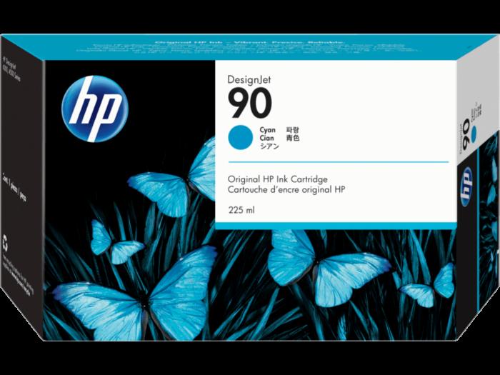 HP 90 225-ml 綻藍色 DesignJet 油墨盒