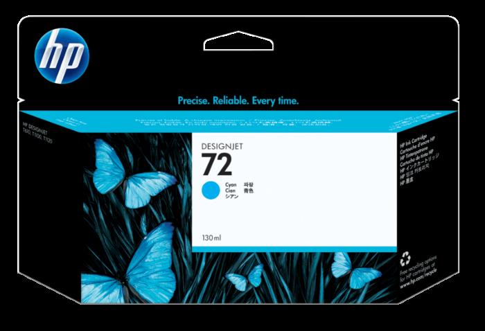 HP 72 130-ml 綻藍色 DesignJet 油墨盒