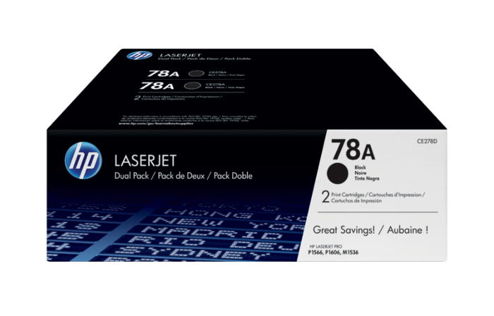 HP 78A 2-pack Black Original LaserJet Toner Cartridges