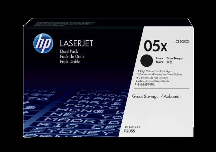 HP 05X 雙盒裝高打印量黑色原廠 LaserJet 碳粉盒