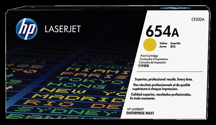 HP 654A 黃色原廠 LaserJet 碳粉盒