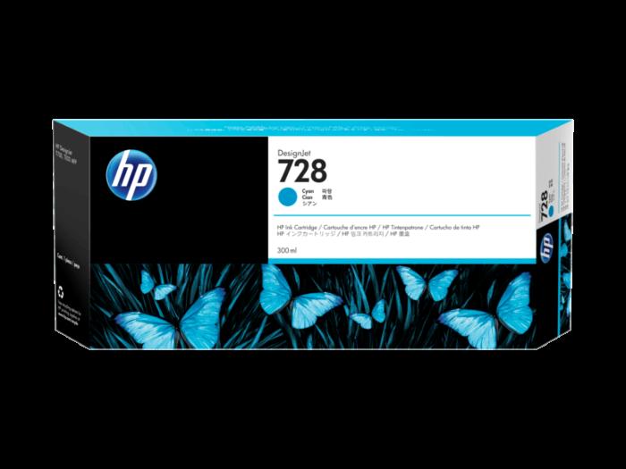 HP 728 300 ml 綻藍色 DesignJet 墨水盒