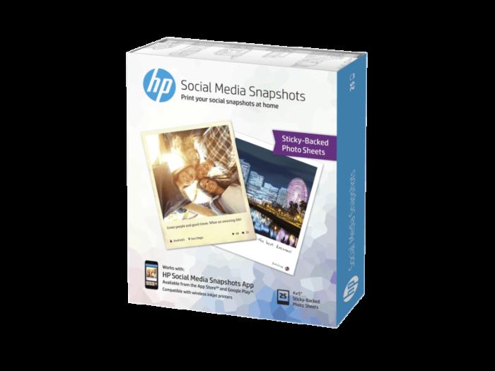 HP Social Media Snapshots 可撕貼紙相紙 25 張/4 x 5 吋