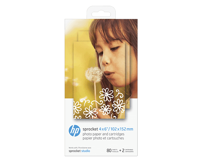 HP Sprocket 4 x 6 in (10 x 15 cm) Photo Paper and Cartridges-80 sheets