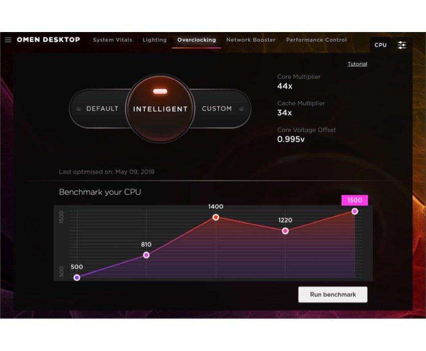 OMEN Gaming Hub 軟件讓玩家可以將電腦性能從基準中央處理器 (CPU) 性能超頻至更高性能 (調整)