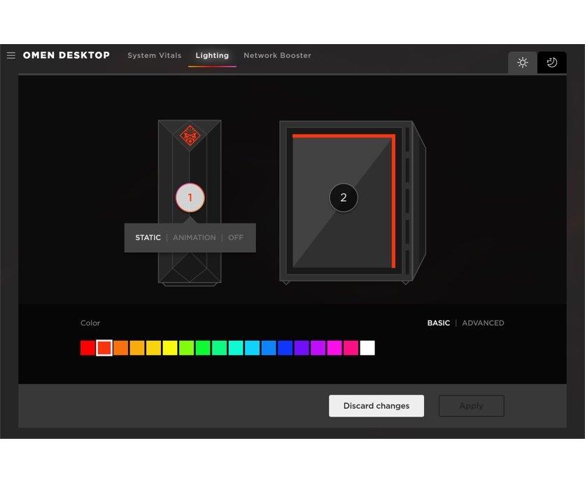 OMEN Gaming Hub 軟件能夠管理 OMEN 筆記簿型電腦、桌面電腦和配件的 RGB 燈效