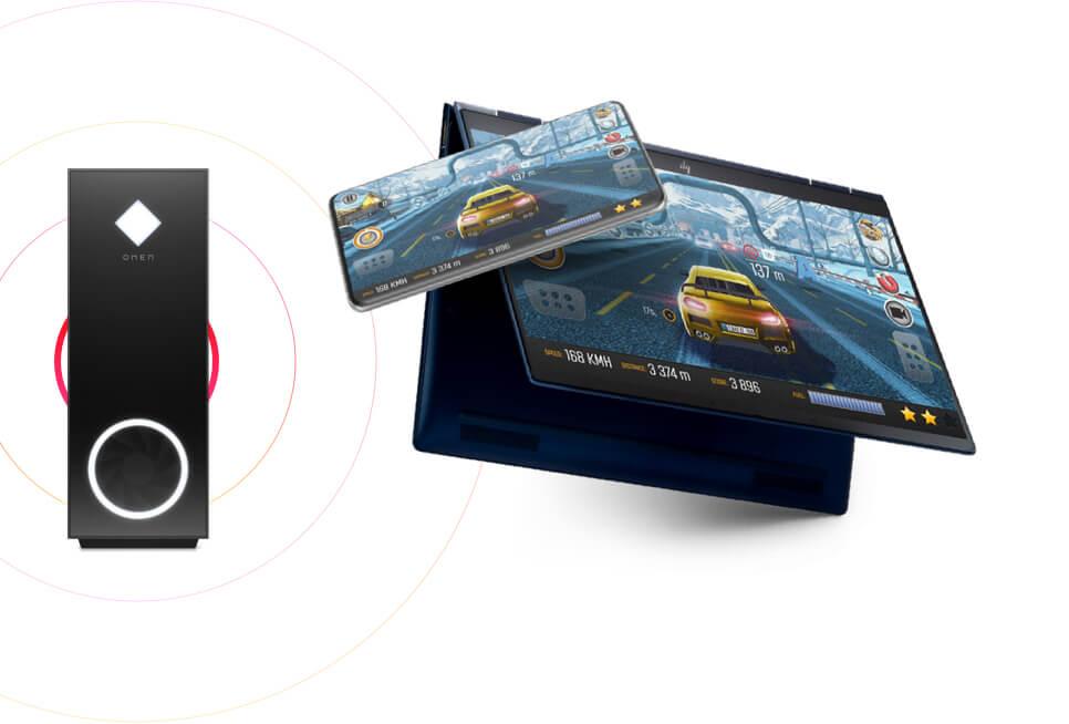 OMEN Gaming Hub 的遠程遊戲功能讓遊戲玩家利用 5G 或 Wi-Fi 技術,將遊戲內容從 OMEN 個人電腦串流至另一部個人電腦、Android 或 iOS 裝置