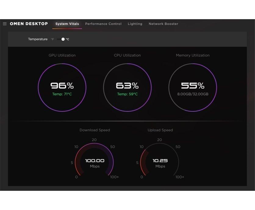 OMEN Gaming Hub 系統主要指標會顯示個人電腦的主要量度指標,包括圖像處理器 (GPU)、中央處理器 (CPU) 的利用率、個人電腦的溫度和記憶體的使用情況